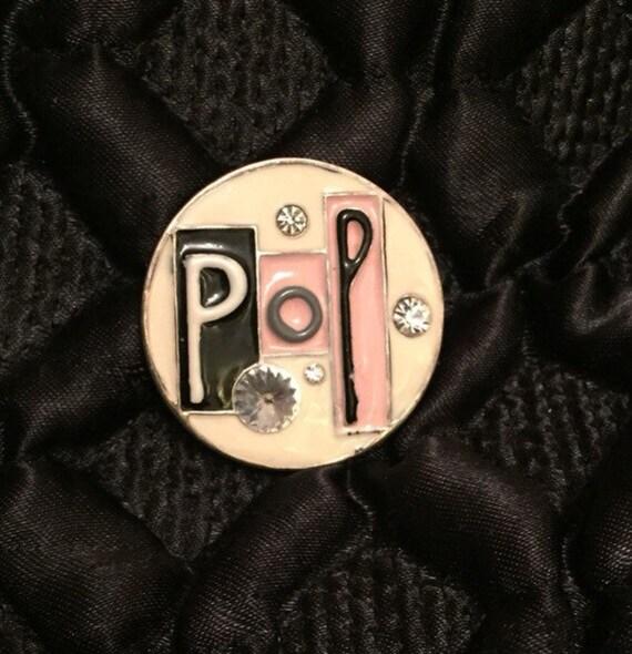 Pop art emamel brooch 1980's