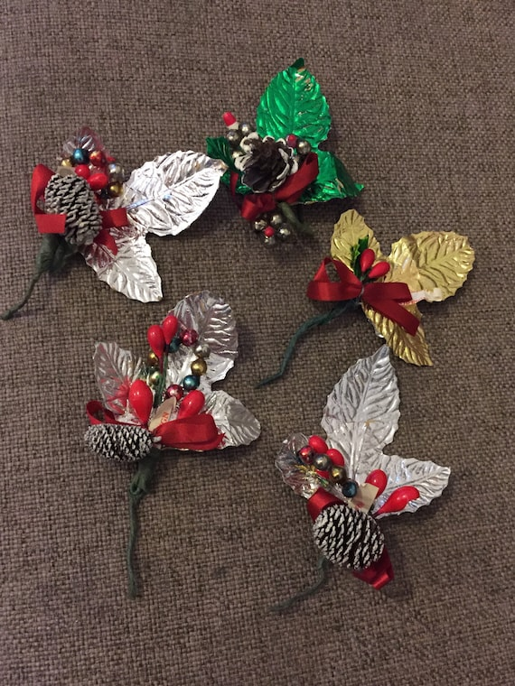 5 handmade vintage Christmas tree/cake/garland decorations