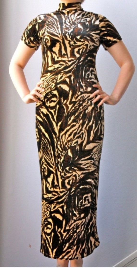 Stunning 1980's velour animal print dress size uk 10-12