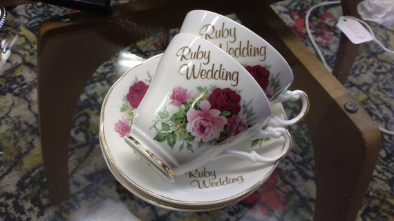 Vintage Ruby Wedding Set of 2 Argyle Bone China Teacups and Saucers with Pink and Red Rose Decoration