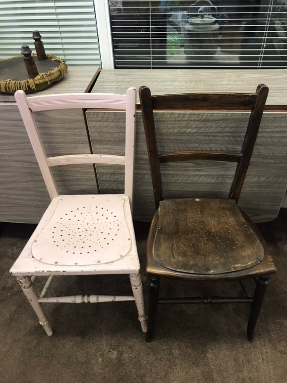 Two vintage wooden dining chairs with star seats- shabby chic project