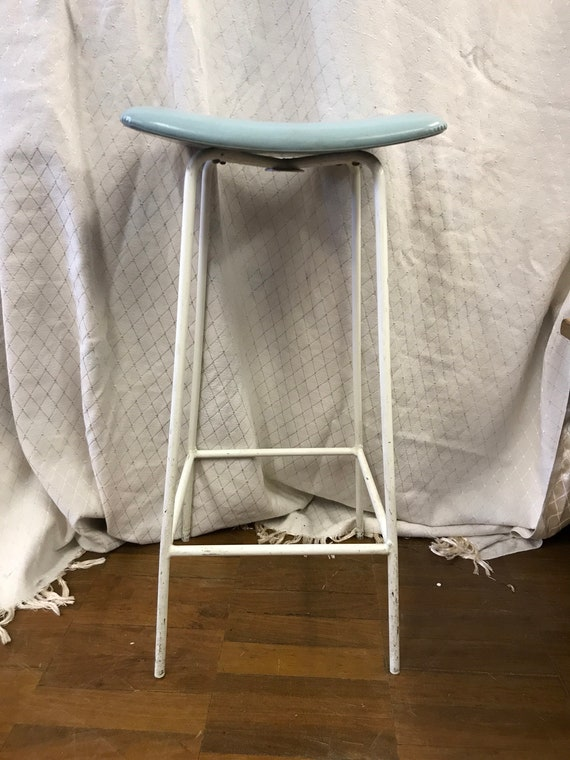 Retro/ Vintage kitchen stool with baby blue seat