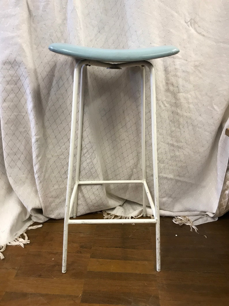 Retro Vintage Kitchen Stool With Baby Blue Seat