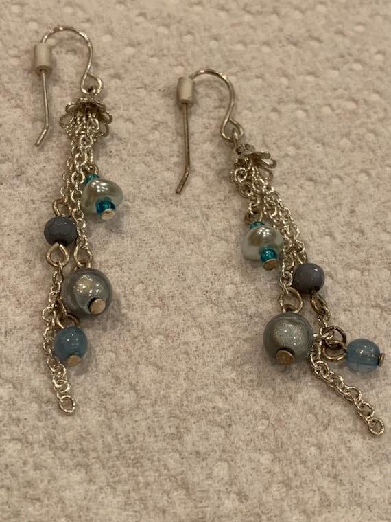 Vintage Beaded flower drop earrings