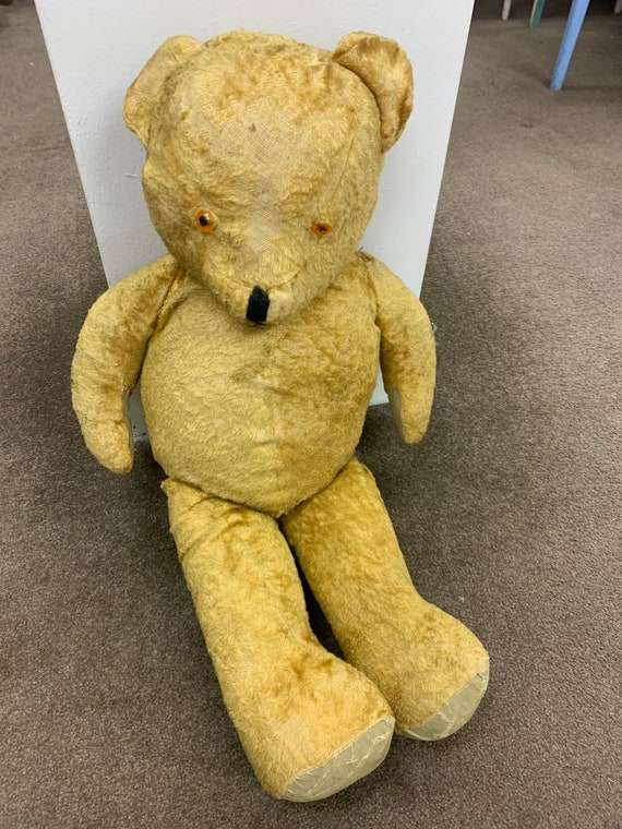 """Vintage 1950's jointed teddy bear in need of some TLC 30"""" tall"""