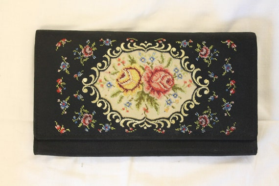 Vintage Embroidered Black Clutch Purse with Mirror And Comb