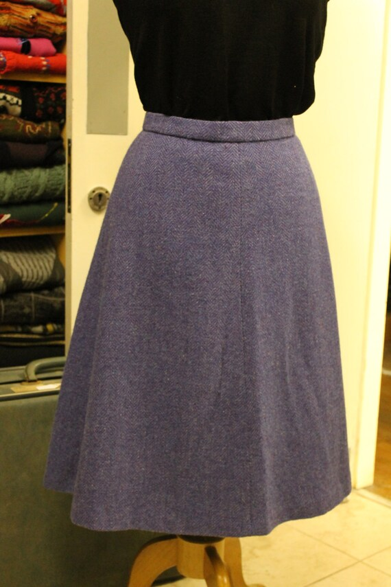 Vintage Craftmade Purple Woolen A-Line Skirt