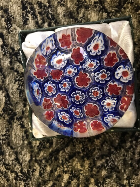 Beautiful floral millefiori  handmade paperweight by Sylshire Ltd