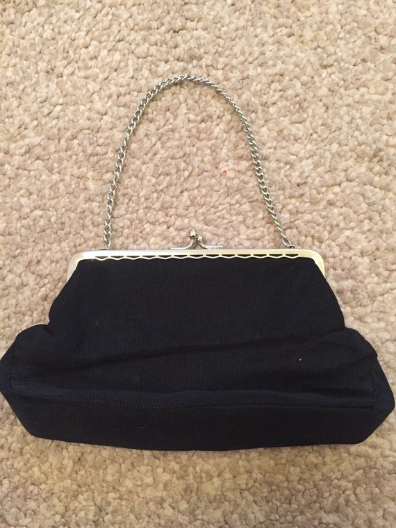 Beautiful vintage evening bag with silver chain and clasp