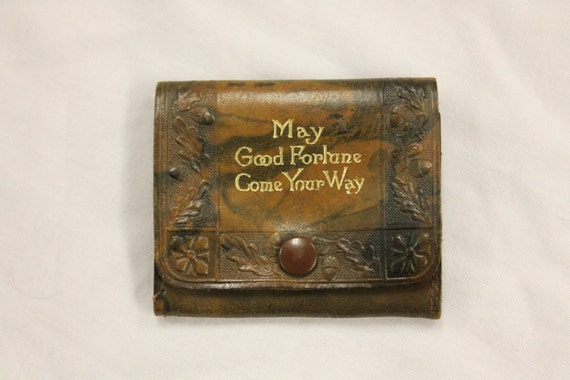 Small Vintage Leather Coin Purse with Gold Embossed Text