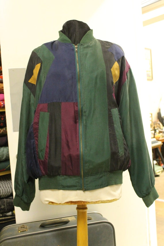 Vintage Pure Silk Green Block Colours Light Jacket