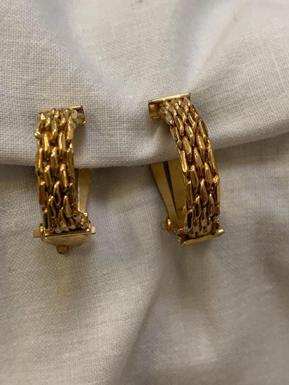 Vintage hooped link clip on earrings in gold metal