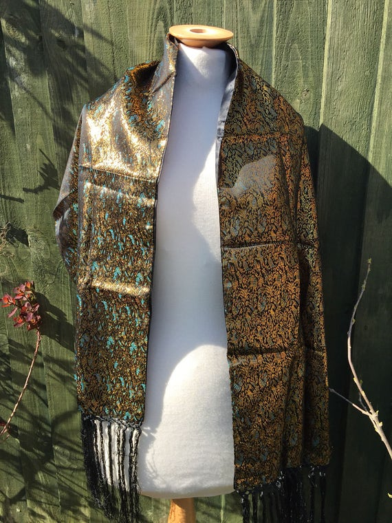 Beautiful tasseled gold and blue shawl/ wrap/scarf
