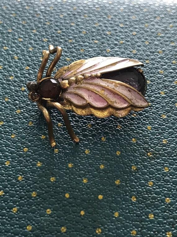 Gorgeous enamel vintage fly brooch, with gem stones