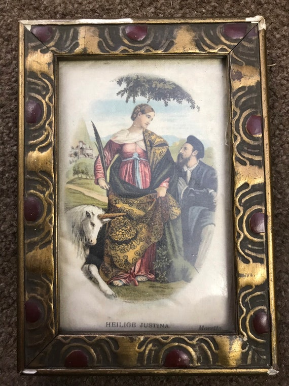 Silk print in frame of Moretto Heilige St. Justina and unicorn