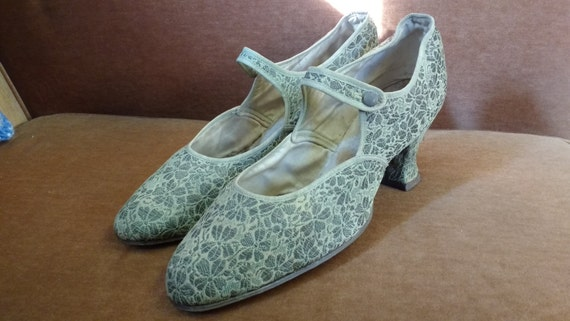 Vintage 1930's Lace Fabric Hand Stitched Heeled Women's Shoes - more for display or use as props