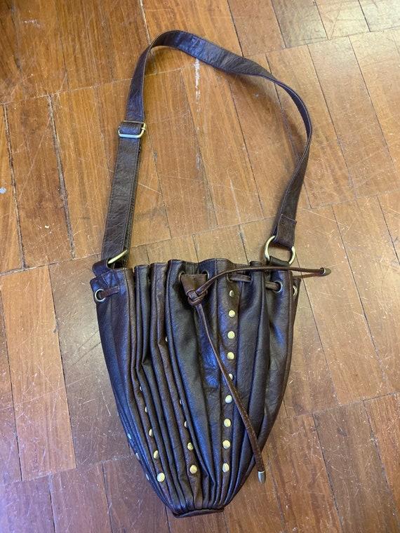Vintage 1980's drawstring brown handbag