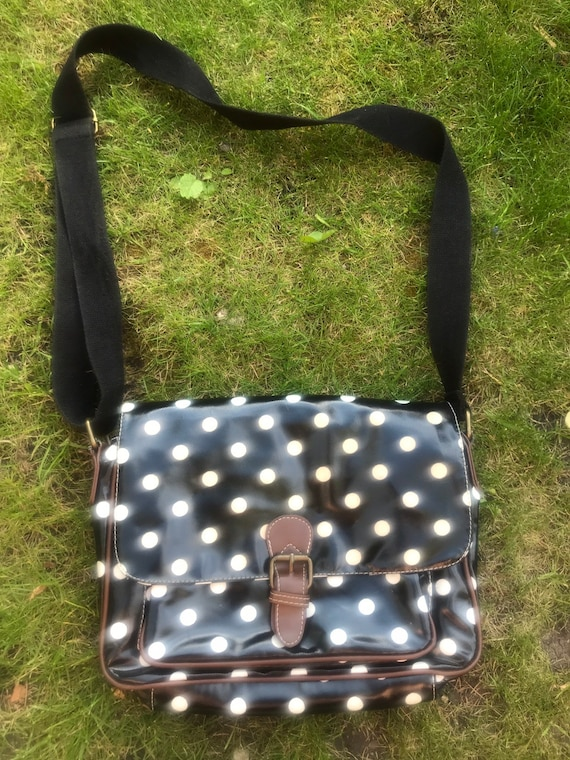 Black and white polka dot satchel style bag