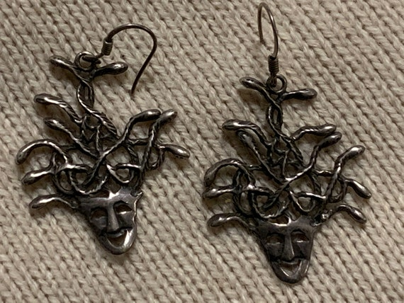Silver Medusa Earrings