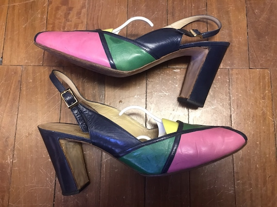 Vintage Russell and  Bromley patchwork sling back heels size 6