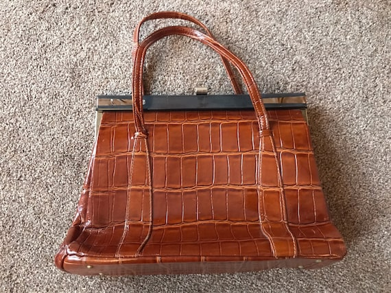 Vintage leather croc skin handbag