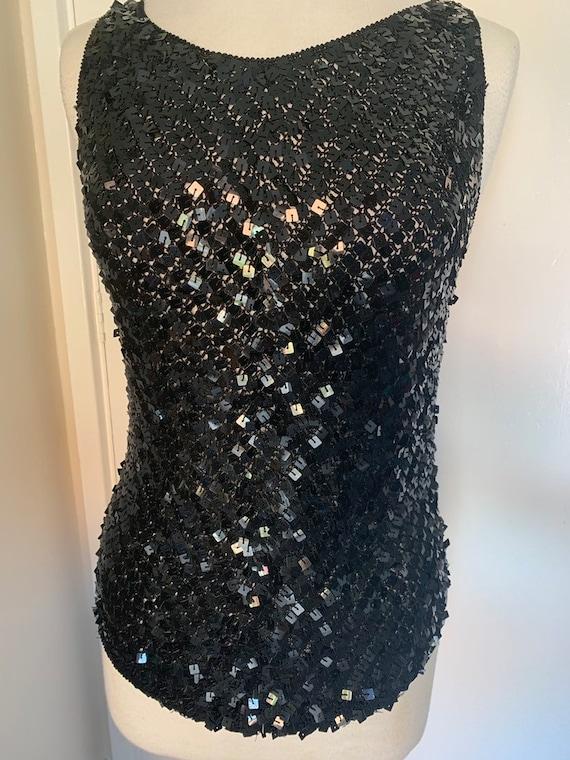 Vintage Sequinned Black Top size M/L