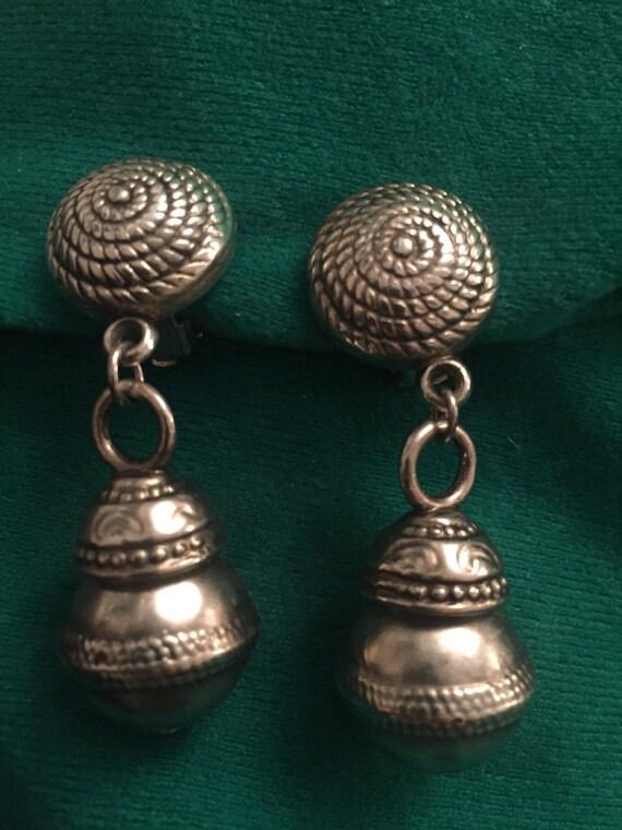 Vintage metal drop clip on earrings