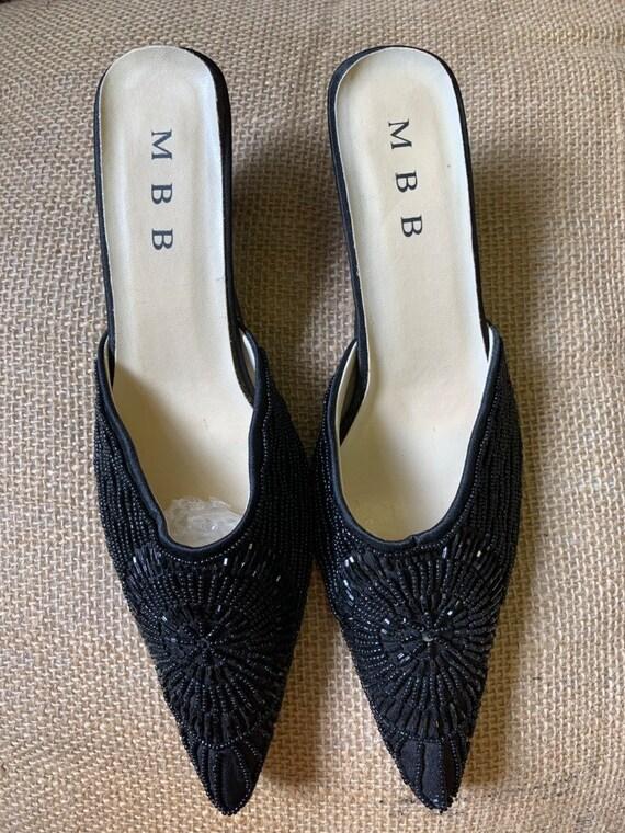 Vintage black beaded slip on shoe size uk 7.......pre loved