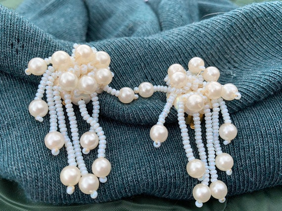 Vintage beaded pearly drop clip on earrings