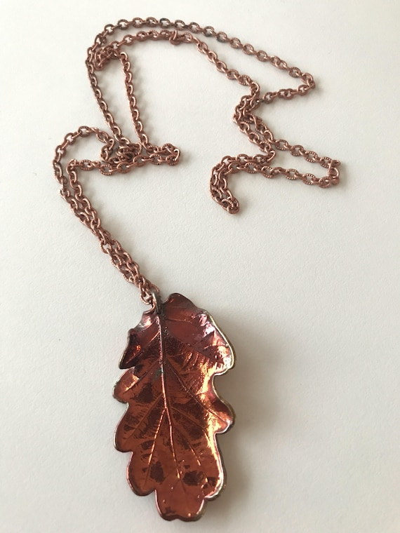 Bronze acorn leaf necklace