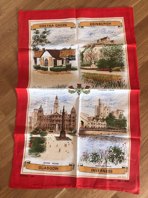 Vintage tea towel showing places in Scotland