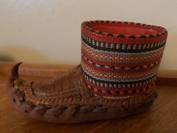 1940's African miniature handmade leather tribal slipper/moccasin. Ideal for tooth picks