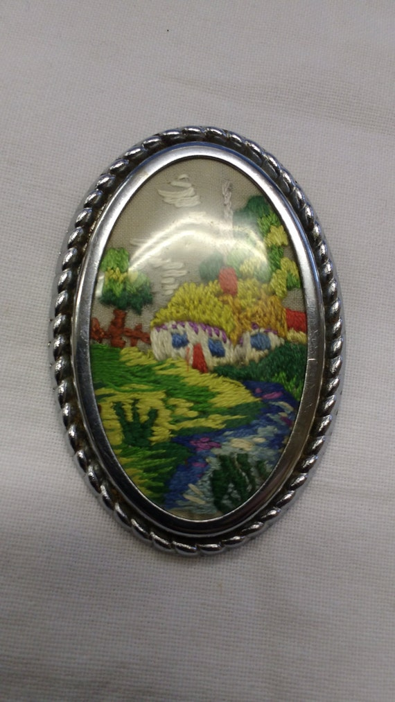 Vintage Hand Embroidered Cottage Countryside Pin in Silver Oval Frame