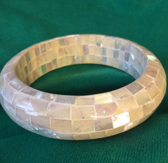 Beautiful Mother Of Pearl mosaic bangle/bracelet
