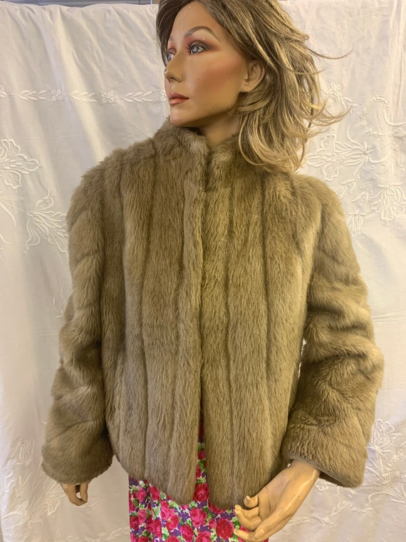 Vintage Beige Faux fur Jacket size Uk 10-12