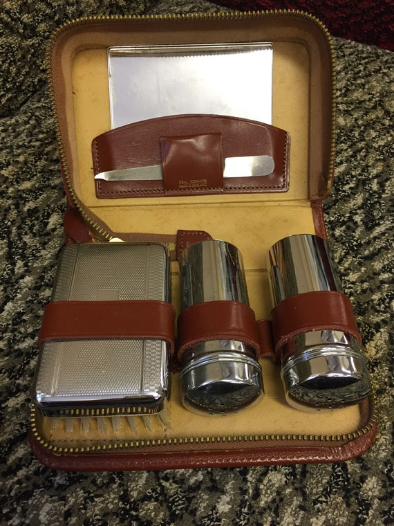 Mens vintage grooming set in a leather travel case