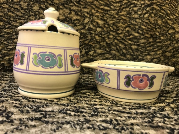 Horniton pottery cream tea set... jam pot and cream bowl