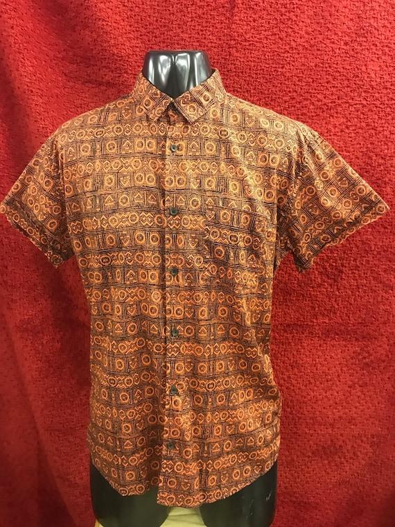 Vintage 1980's mens geometric print shirt size M-L