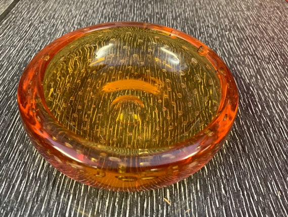 1950's orange glass bubble ashtray/bowl/decorative bottle bowl