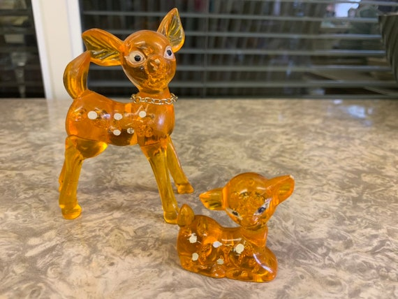 Small resin 'bambi' deer and fawn baby