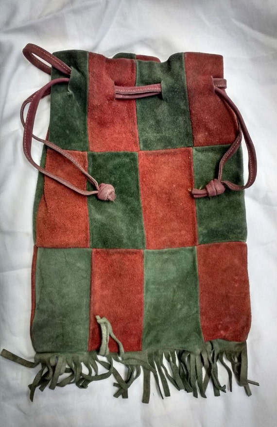 Vintage Red and Green Suede Patch Drawstring Bag with Tassels