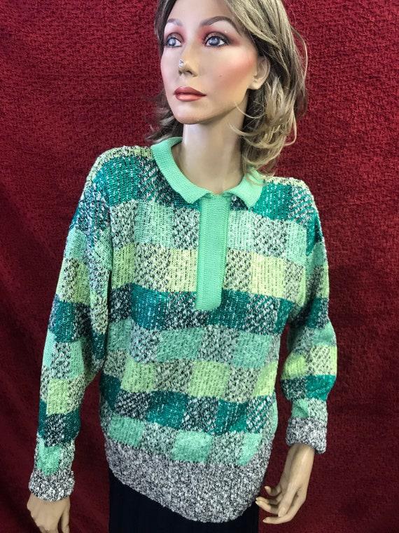 Vintage summer patterned hand knitted jumper size uk 10-12