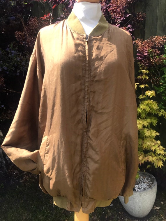 Ladies pure silk bomber jacket size large