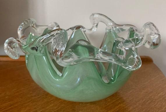 Murano 1970's green glass bowl