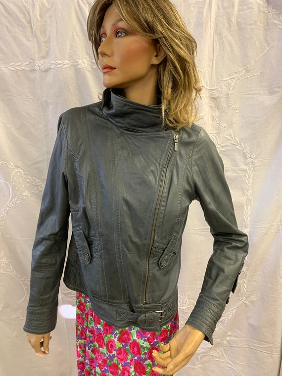 vintage 1980's leather biker jacket in Grey size 10-12 By Gharini Strok