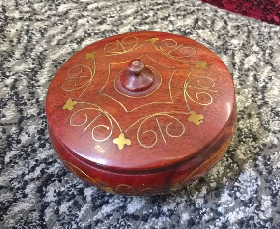 Vintage Small Decorative Wooden Pot Box Bowl with Lid, Patterns Painted with Gold Enamel