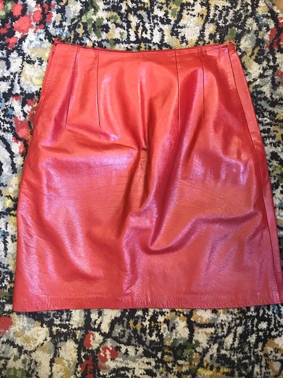 "Vintage red leather skirt waist 28"""