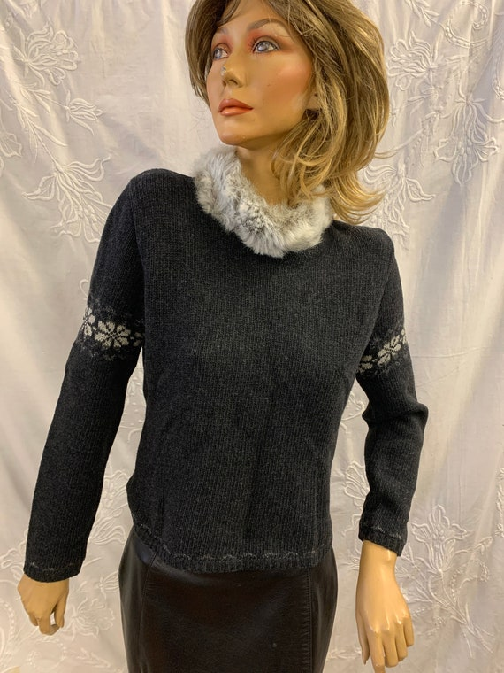 1980's vintage jumper with fur collar made by Kookai, size 10-12