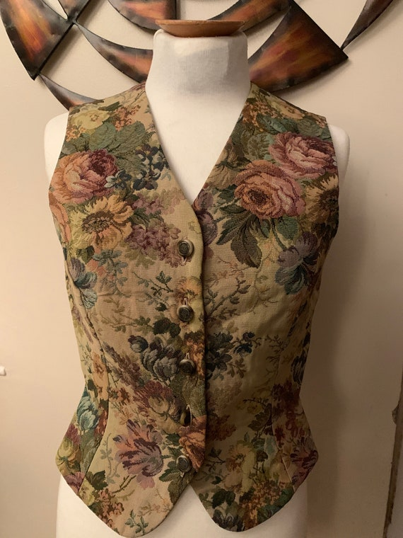 Vintage 1980's Laura Ashley tapestry waistcoat. Pink peony and fauna