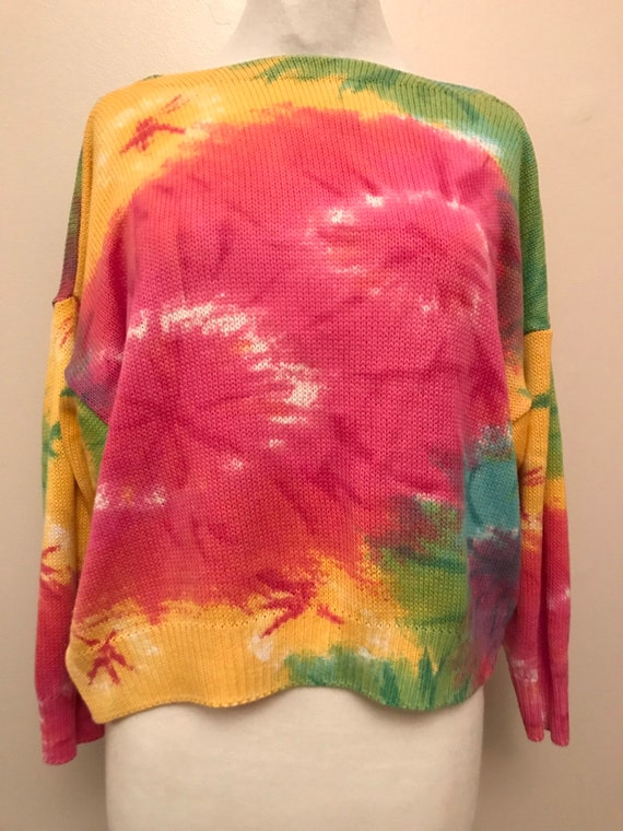 Ladies 1980's tie dye pattern knitted jumper size 10-12